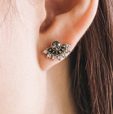 Nico Fan Earrings Black Diamond