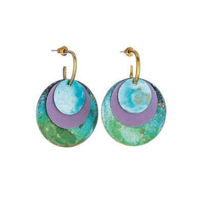 Lavender Patina 3 Planets Earrings