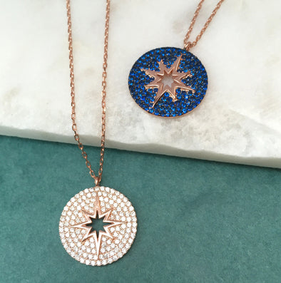 Sparkly Star Necklace With Rose Gold