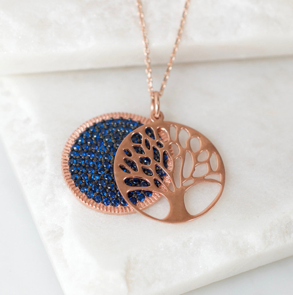 Pavé Tree Rose Gold Necklace