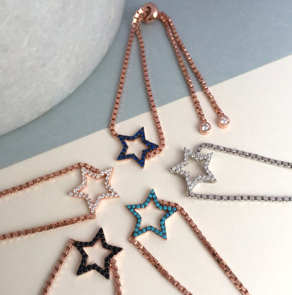 Rose Gold Pavé Star Bracelet