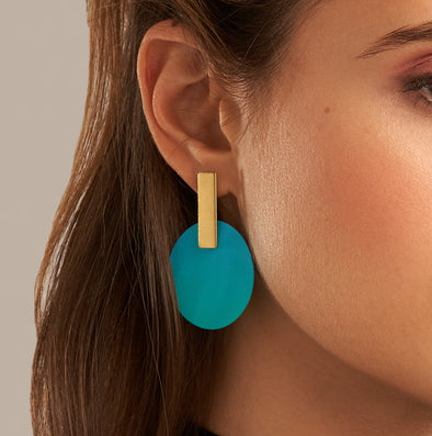 Sibilia Ombre Monocycle Turquoise Earrings
