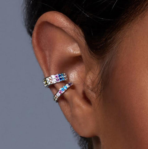 Crystal Rainbow Silver Ear Cuff