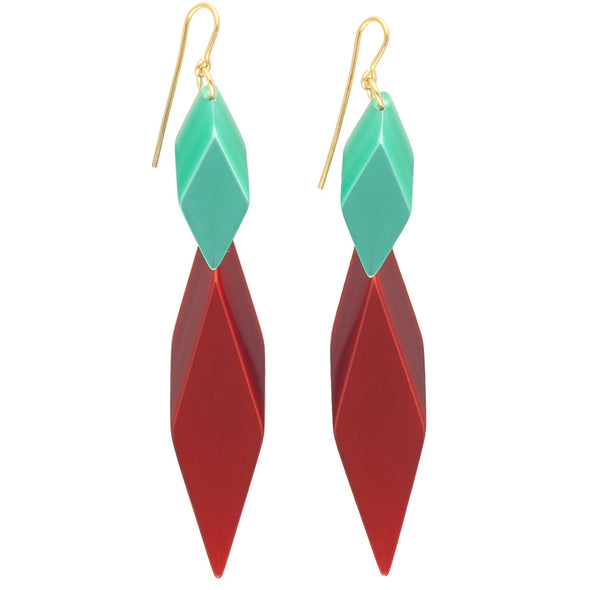 Silvia Rossi Red and Green Statement Earrings
