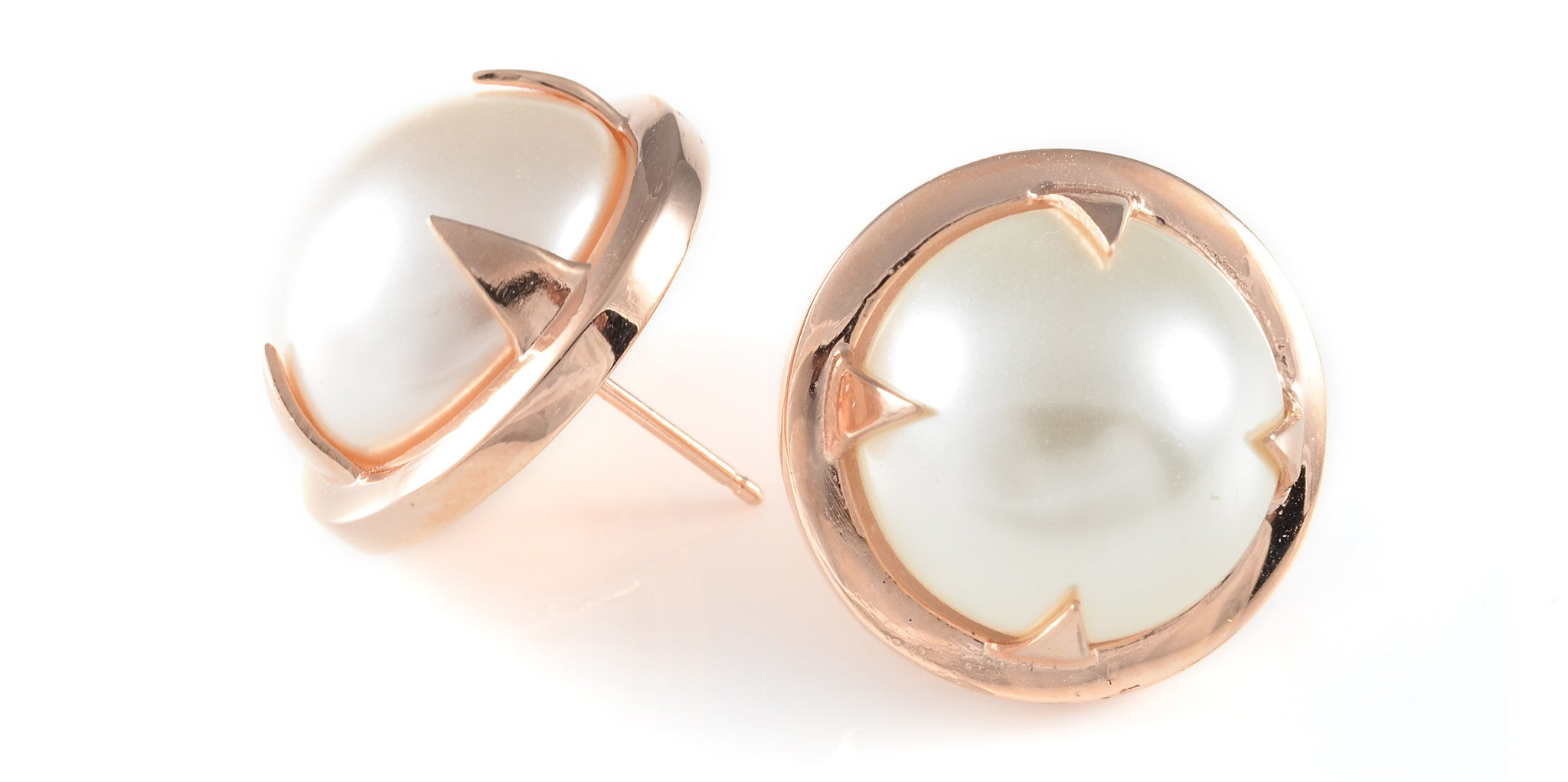 swarovski pearl and rose gold earrings by cabinet studios