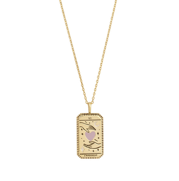 Wanderlust + Co L'amoureux Gold Tarot Necklace
