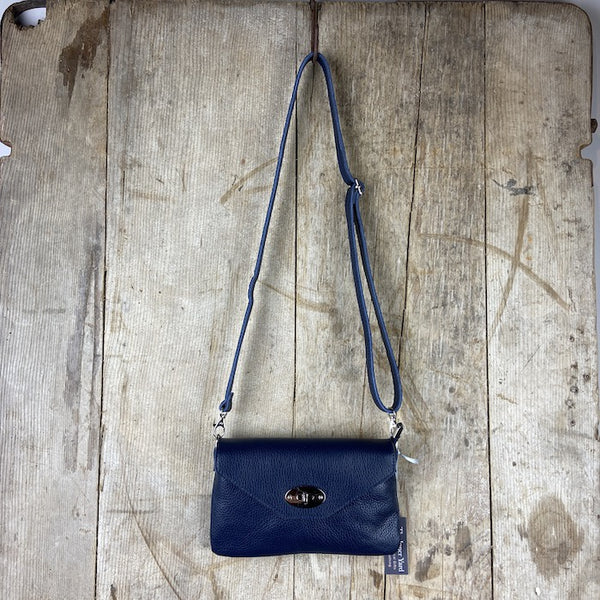 Leather Crossbody Clutch With Twistlock - Navy