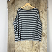 Narrow Striped Knitted Jumper - Grey