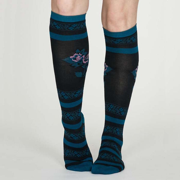 Denise Long Floral Bamboo Socks - Midnight Blue - Size 4-7