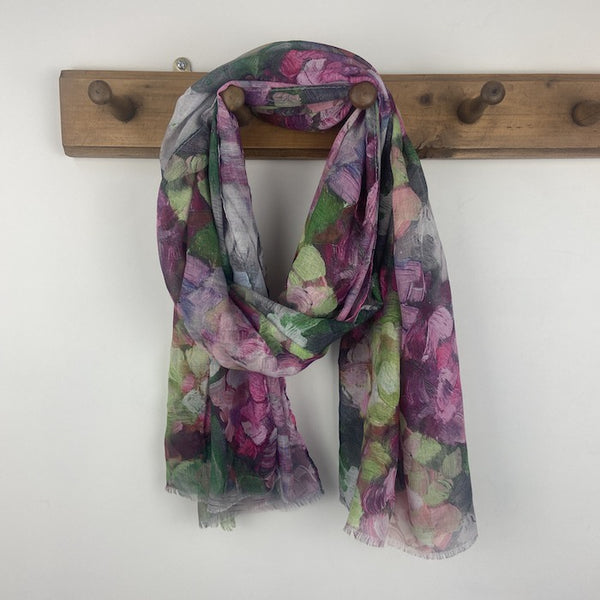 Abstract Flowers Scarf - Pink