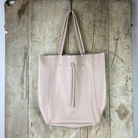 Leather Shopper Bag: Nude