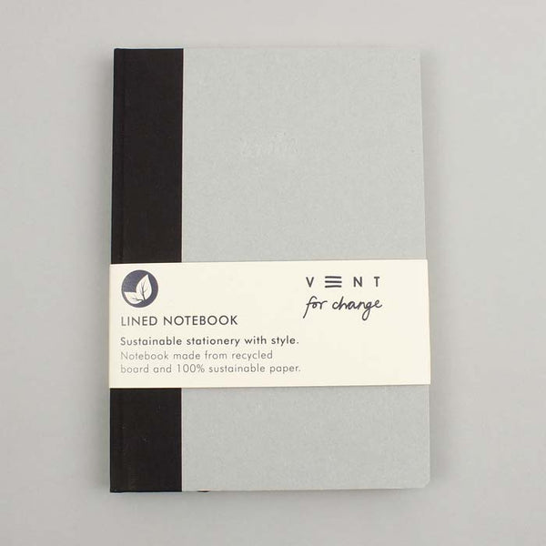A5 Black Spine Write Notebook with lined paper