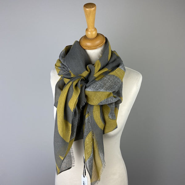 Grey/Mustard Abstract Scarf