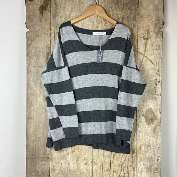 Striped Knitted Jumper - Grey