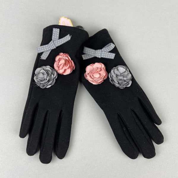 Black Gloves With Flower