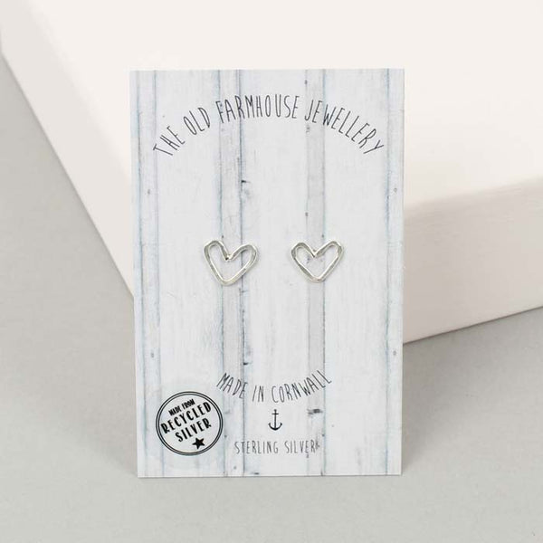 Recycled Silver Mini Wire Heart Studs