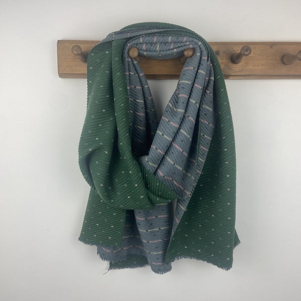Pleated Tiny Dots Scarf - Green