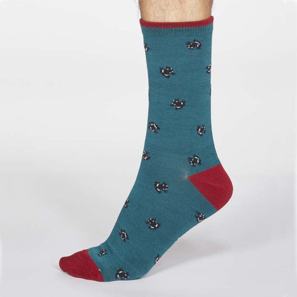 Wesley Frog Men's Bamboo Sock - Teal Green