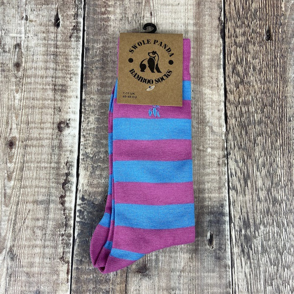 Men's Socks - Striped Pink & Light Blue