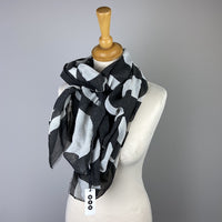 Black Cream Abstract Scarf