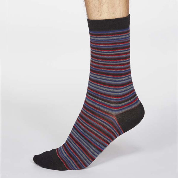 Jacob Stripe Men's Organic Cotton Sock - Black