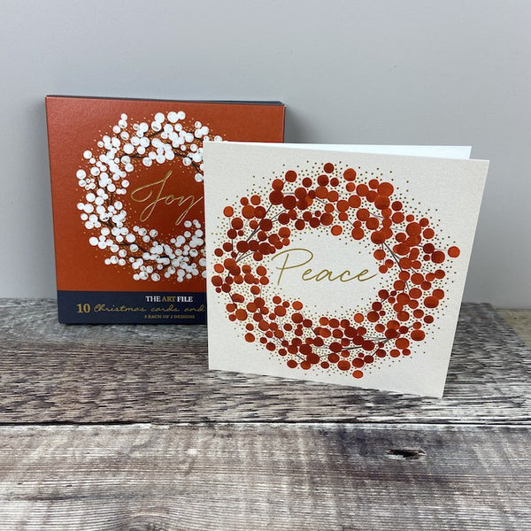 Christmas Card Pk 10 - Season's Greetings Circle