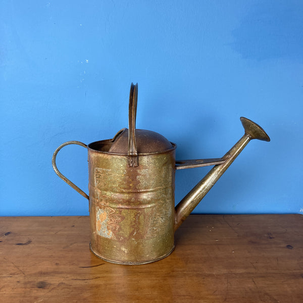 Vintage Watering Can with Brass Rose