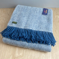 Pure New Wool Herringbone Throw - Ink/Silver Grey