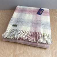 Pure New Wool Meadow Check Throw - Dusty Pink