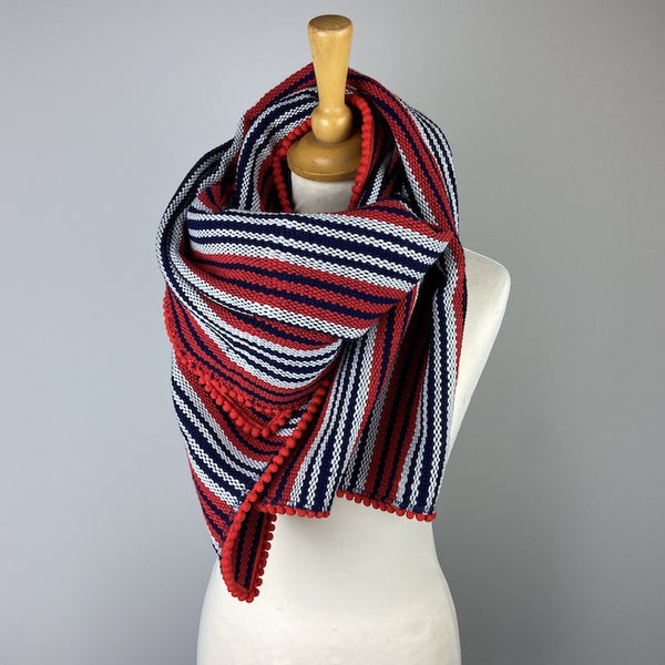 Navy/Red Striped Scarf