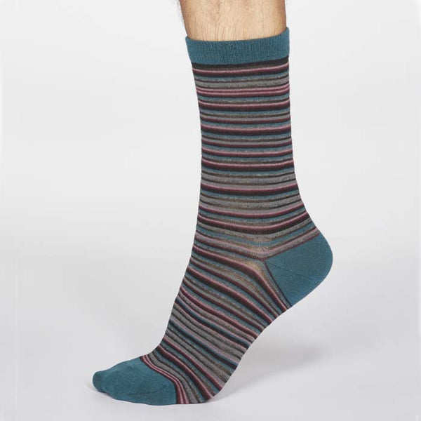 Jacob Stripe Men's Organic Cotton Sock - Teal Green