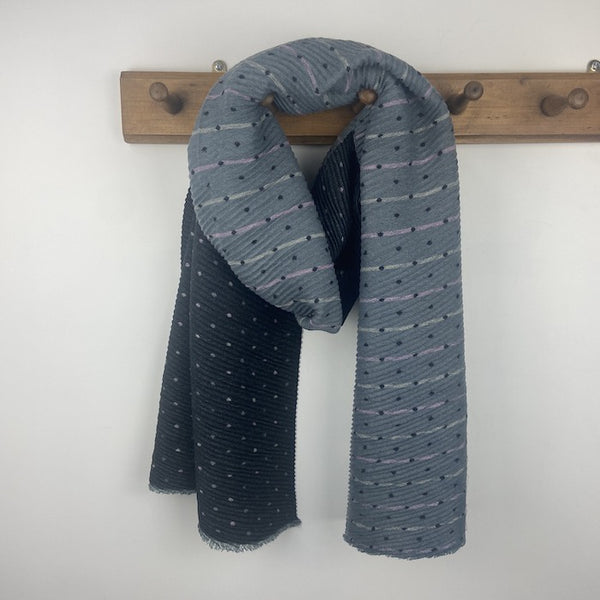 Pleated Tiny Dots Scarf - Charcoal