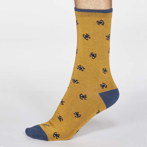 Wesley Frog Men's Bamboo Sock - Mustard Yellow