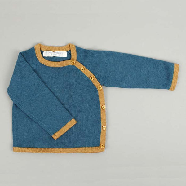 Picasso Knitted Organic Cotton Wrap Jacket - Petrol Blue