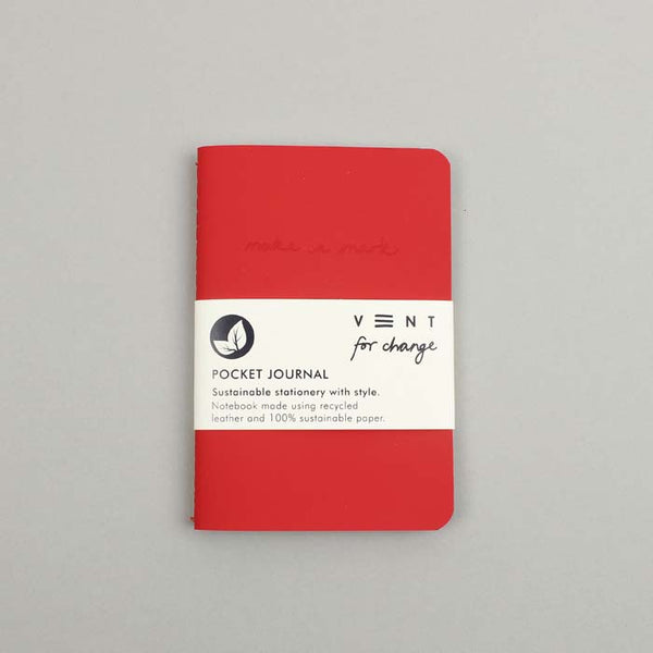 Make a Mark Recycled Leather Pocket Journal - Red
