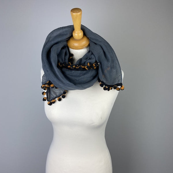 Thin Pom Pom Scarf - Dark Grey/Mustard