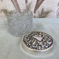 Cut glass pot with silver plated lid