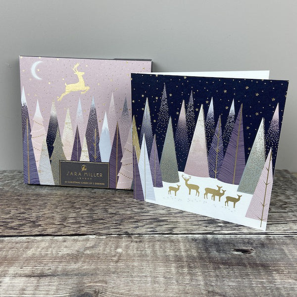 Christmas Card Pk 10 - Pastel Deer in Forest