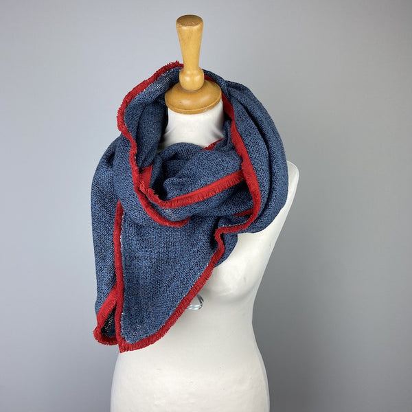 Dark Grey Scarf With Red Edge