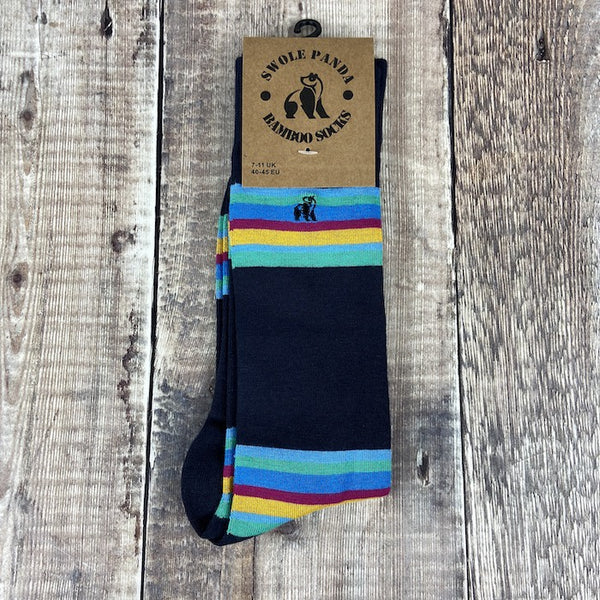 Men's Socks - Striped Navy Bold