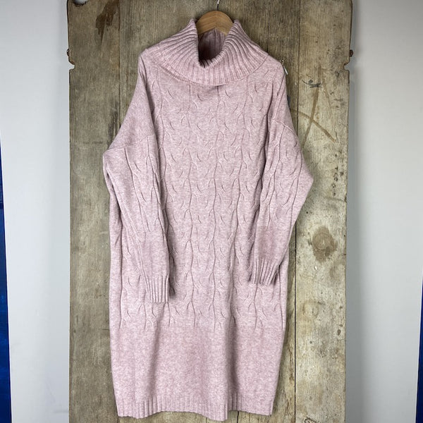 Cowl Neck Cable Knit Tunic - Pink