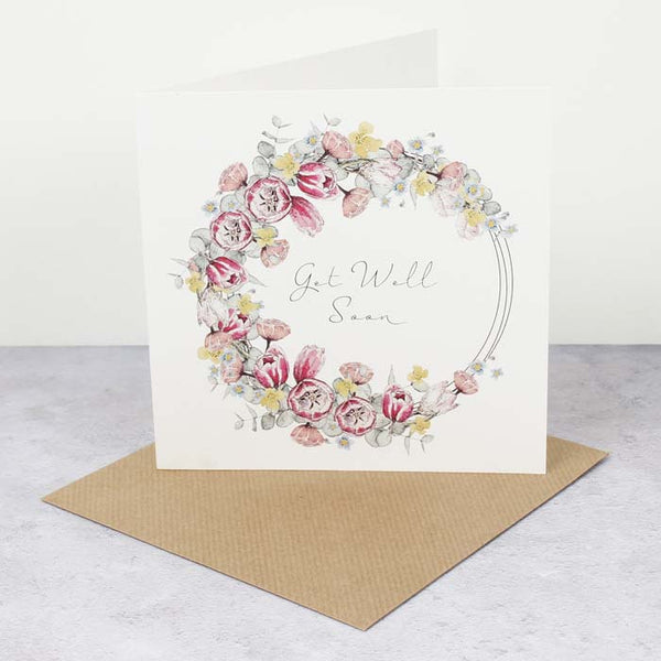 TC Square Card - Get Well Soon - Floral Wreath