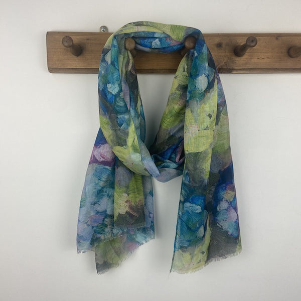 Abstract Flowers Scarf - Blue