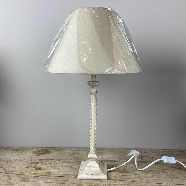 Whitney Off White Square Lampbase & Linen Shade Set