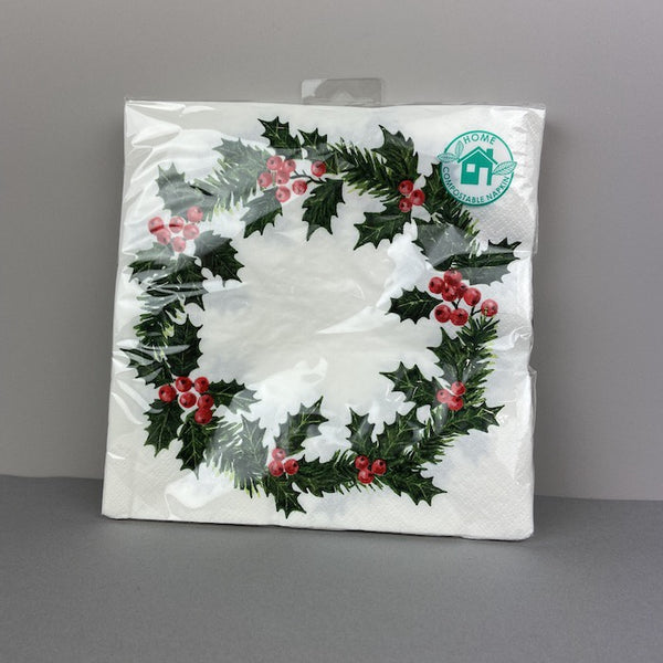Botanical Holly Wreath Napkin - 40cm - 20 pack