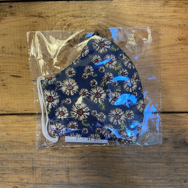 Fabric Face Mask - Blue/Red Daisy