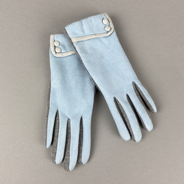 Baby Blue Gloves With Buttons