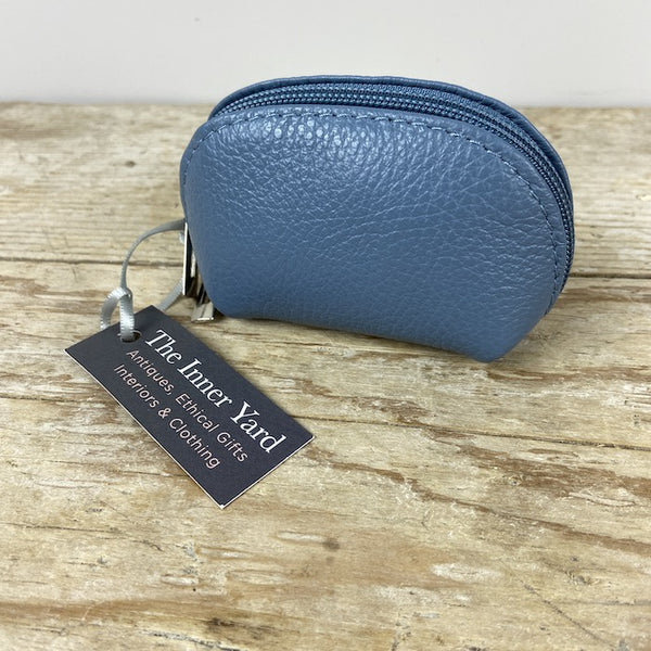 Leather Coin Purse - Dusty Blue