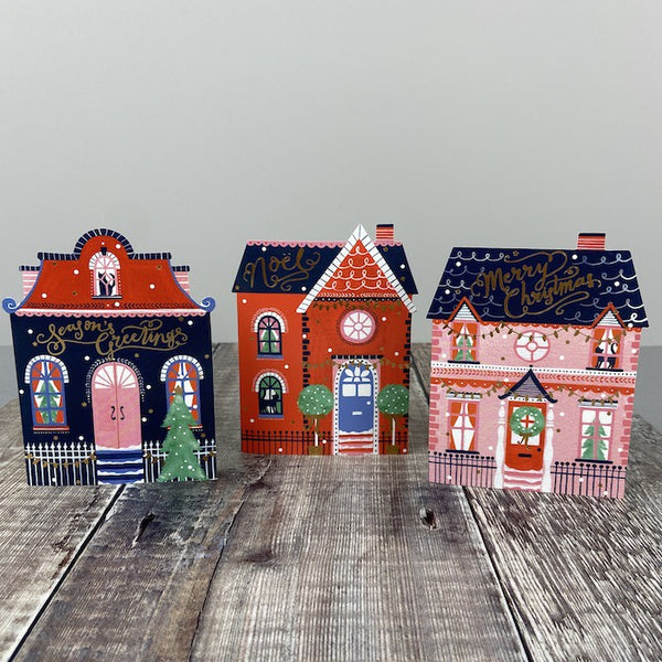 Christmas Cards Pk 12 - Festive Trio Houses