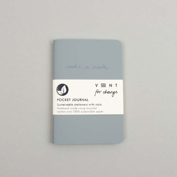 Make a Mark Recycled Leather Pocket Journal - Dusty Blue